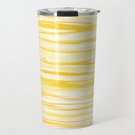Milk and Honey Yellow Stripes Abstract Travel Mug