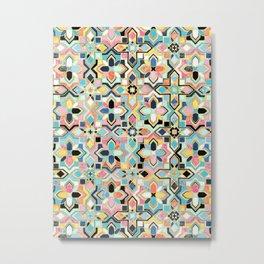 Bohemian Geometry Enameled Tiles  Metal Print