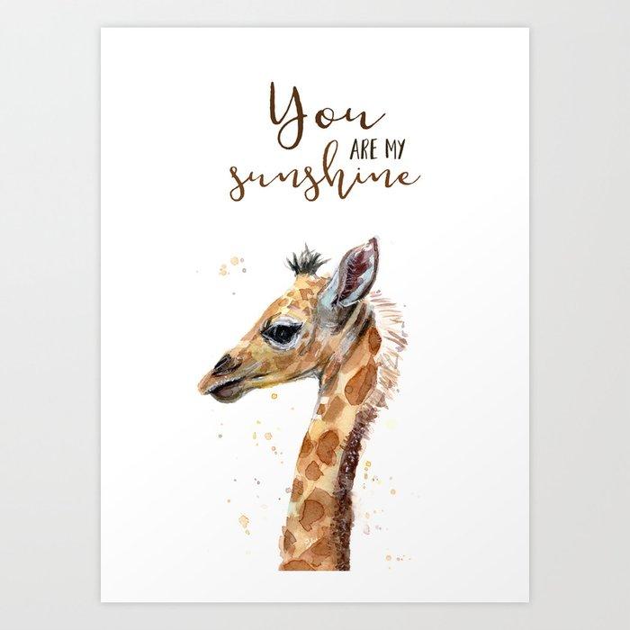You Are My Sunshine Giraffe Nursery Animals Watercolor Art Print