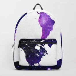 world map. (Blue Purple Galaxy) Backpack