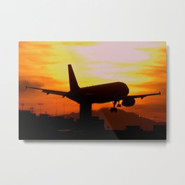 America West Airlines Airbus A320 landing at sunset Metal Print