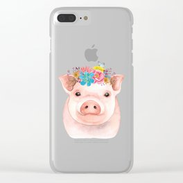 Spring Pig Clear iPhone Case