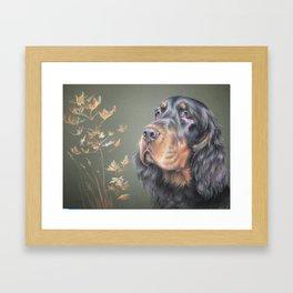 Gordon Setter Black & tan dog portrait Autumn scene Pastel drawing Framed Art Print