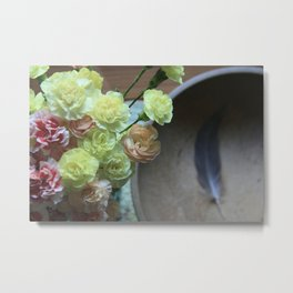 Carnation & Feather Metal Print