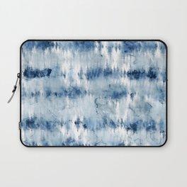 Modern hand painted dark blue tie dye batik watercolor Laptop Sleeve