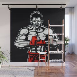 fighter mascot fighter pose ready to fighting Wall Mural