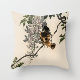 Sparrow On A Branch Traditional Japanese Wildlife Throw Pillow
