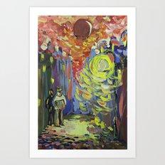 Loneliness under the street light Art Print