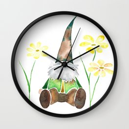 Gnome & Flowers Wall Clock