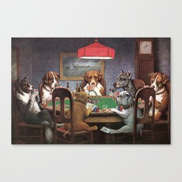 Dogs Playing Poker A Friend in Need Painting Canvas Print