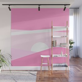 Minimalist pink abstract landscape Wall Mural
