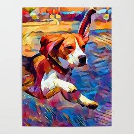 Beach Beagle Poster