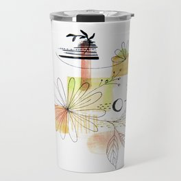 Pink Simple Lines And Flowers Travel Mug