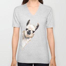 Sneaky Llama White Unisex V-Neck
