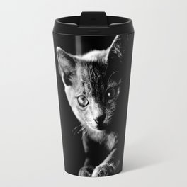 black and white kitten Travel Mug
