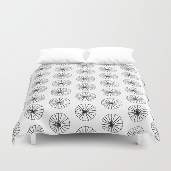 Omge - circle black and white minimal abstract lines drawing design minimal art Duvet Cover