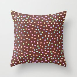 chocolate Glaze with sprinkles. Brown abstract background Throw Pillow