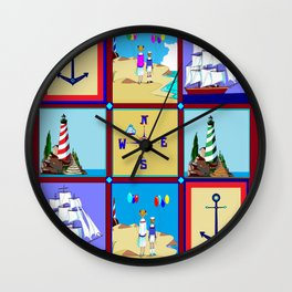 Another Nautical Quilt but with Compass Rose Wall Clock