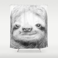 sloth Shower Curtains featuring Sloth by Eric Fan