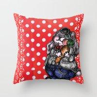rabbit Throw Pillows featuring Rabbit by AKIKO
