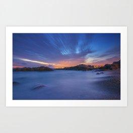Sunset at the beach Art Print