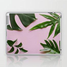 Tropical Palm Leaf Pink Background Laptop & iPad Skin