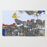 mondrian Area & Throw Rugs featuring Vanvouver Mondrian by Mondrian Maps
