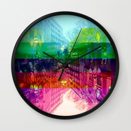 Ruckus, after moments, by lady, in night garments. [CMYK] Wall Clock