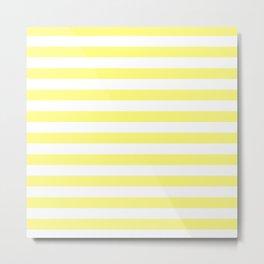 White & Yellow Stripes Metal Print