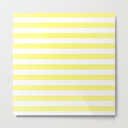 White & Yellow Stripes Metal Print