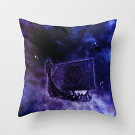 Cosmic Drakkar Illustration 2 Throw Pillow