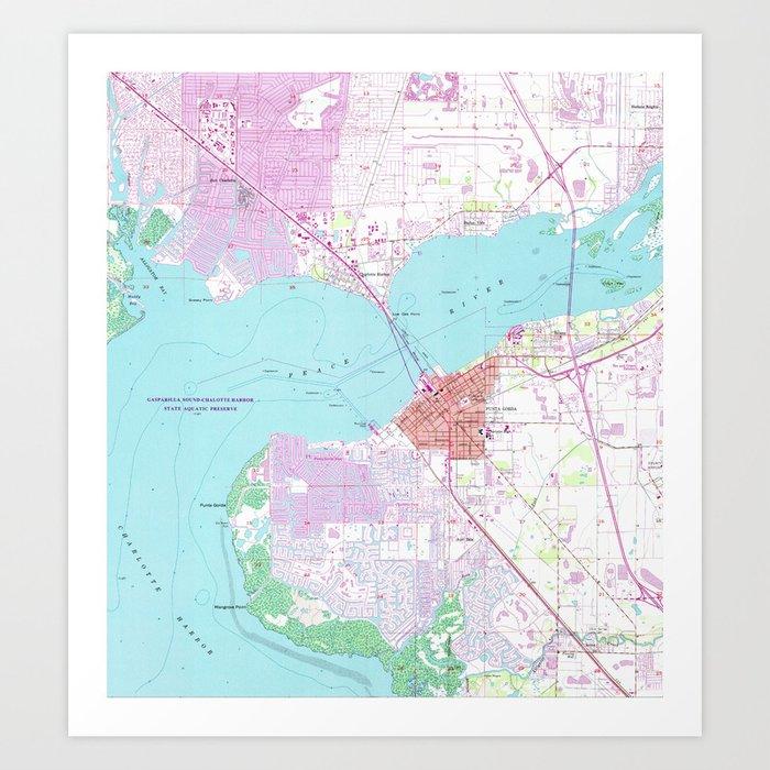 Map Of Port Charlotte Florida.Punta Gorda Port Charlotte Florida Map 1957 Art Print By