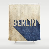 berlin Shower Curtains featuring Berlin by Barbo's Art