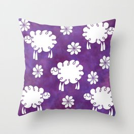 Cotton Candy Sheep - LaurensColour Throw Pillow