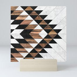 Urban Tribal Pattern No.9 - Aztec - Concrete and Wood Mini Art Print