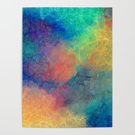 Reflecting Multi Colorful Abstract Prisms Design Poster