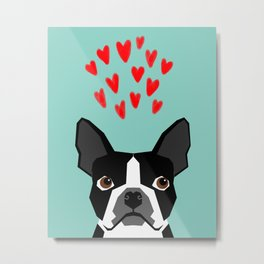 Boston Terrier - Hearts, Cute Funny Dog Cute Valentines Dog, Pet, Cute, Animal, Dog Love,  Metal Print