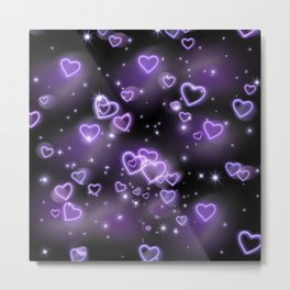 Neon Hearts Pattern Metal Print
