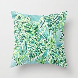 ELEPHANT EARS Green Tropical Leaves Throw Pillow