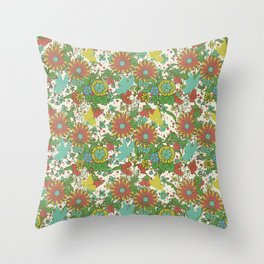 Garden Charm 10:  vintage retro butterfly shabby pattern yellow and blue Throw Pillow
