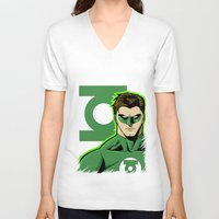 green lantern V-neck T-shirts featuring Green Lantern by J. J.