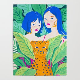 Girls and Panther in Tropical Jungle Poster