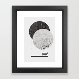 Calculating a Jump over the Moon Framed Art Print