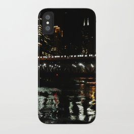 Chicago El and River at Night iPhone Case