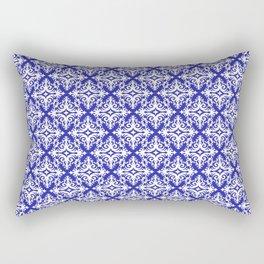 Damask (White & Navy Blue Pattern) Rectangular Pillow