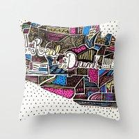 drunk Throw Pillows featuring drunk by Mariana Beldi