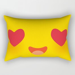 Kawaii funny muzzle in love with pink cheeks and big Red heart eyes Cute Cartoon Face on yellow Rectangular Pillow