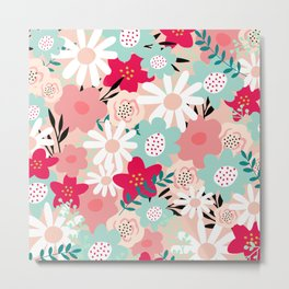 Floral Prints, Yellow, Pink and Turquoise, Cute, Colourful Prints Metal Print