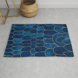 Stratosphere Sapphire // Abstract Blue Flowing Gradient Gold Foil Cloud Lining Water Color Decor Rug