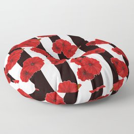 Red poppies on a black and white striped background. Floor Pillow